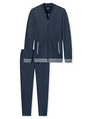 Schiesser Herren Zweiteiliger Schlafanzug Sleep + Lounge Hausanzug, Blau (Dunkelblau 803), Large/X-Large