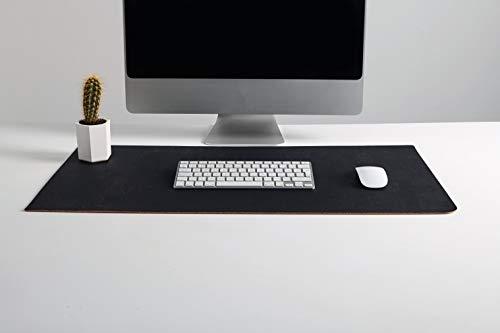 Hochwertige handgefertigte Korkleder-Schreibtischunterlage: Bio-Mauspad und -Schreibtischschutz für Büroarbeit und Spiele mit glatter Oberfläche (Schwarz)