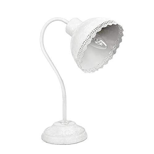 Schreibtischlampe EMILIE weiß Metall shabby chic Landhaus Lampe Tischlampe E14