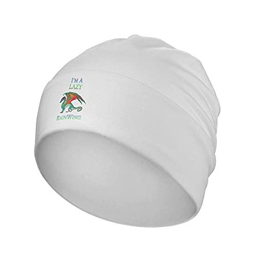 N A I'm A Lazy Rai-Nwi-Ng - Gorro de cobertura unisex clásico de invierno al aire libre cálido suave sombreros de punto blanco