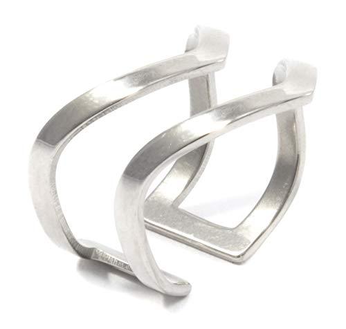 Happiness Boutique Damen Offener Ring in Silberfarbe | Statement Ring Doppel Chevron V Design