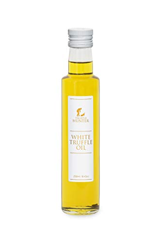 TruffleHunter White Truffle Oil Double Concentrate - Real Truffle Pieces in Bottle Olive Oil (8.45 Oz) - Gourmet Food Seasoning Marinade Garnish Salad Dressing - Kosher Vegan Vegetarian & Gluten Free