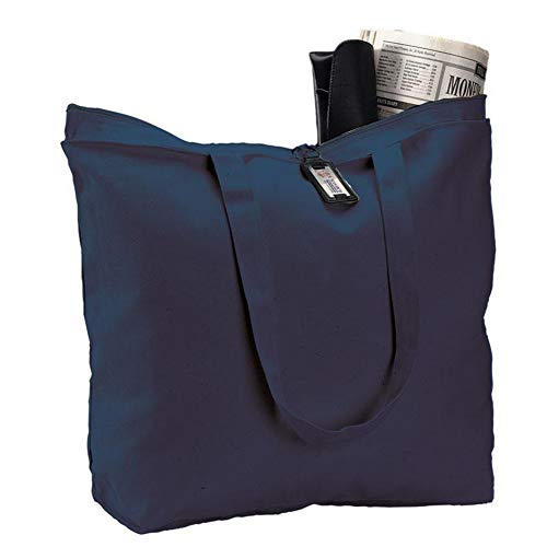 (6 Pack) Set of 6 Heavy Canvas Large Tote Bag with Zippered Closure (Navy)