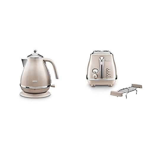De'Longhi Frühstücksset Icona Metallics - Wasserkocher KBOT2001.BG und Toaster CTOT2103.BG, Beige