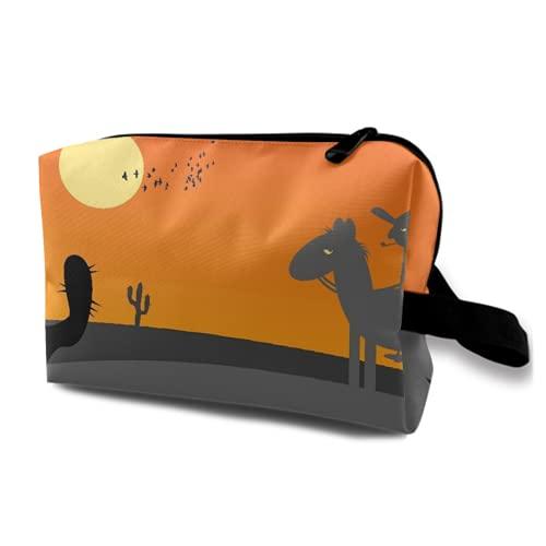 Neceser Colgante de Viaje,Paisaje desértico de México Caliente de Estilo de Dibujos Animados con Cactus,Organizador de Maquillaje cosmético Bolsa de higiene y Organizador de Ducha
