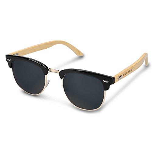 Navaris Holz Sonnenbrille UV400 - Damen Herren Retro Brille Holzoptik - Unisex Bambus Holzbrille mit Etui - unterschiedliche Farben