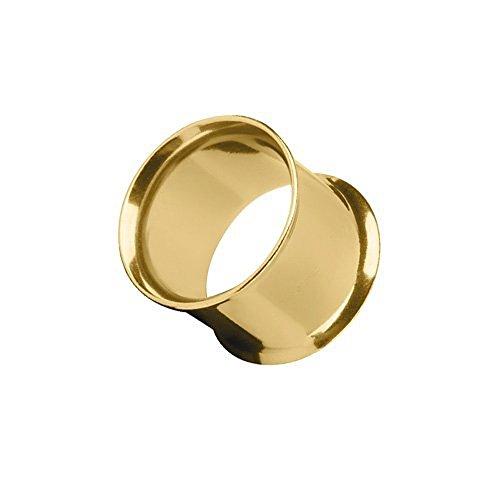 Piercingfaktor Flesh Tunnel Ear Plug Ohr Piercing Tribal Double Flared Plug aus Edelstahl 14mm Gold
