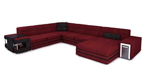 Bullhoff by Giovanni Capellini XXL Wohnlandschaft Stoff weinrot/schwarz Polster Sofa U-Form Couch Designsofa Ecksofa mit LED-Licht Beleuchtung Marco
