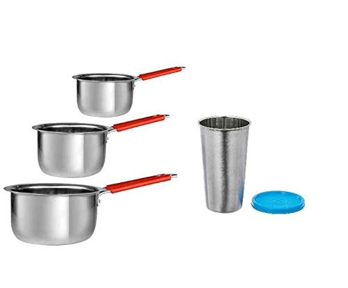 Sharda Metals Gas and Induction Base Stainless Steel Tea/Coffee Tope Saucepan with Handle, Silver, Set of 3