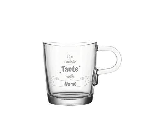 KS Laserdesign Leonardo Glas Tasse mit Spruch '' die coolste Tante heißt '' persönliche Gravur - Wunschname oder Text, Namensgravur, Geschenkidee, Geburtstag
