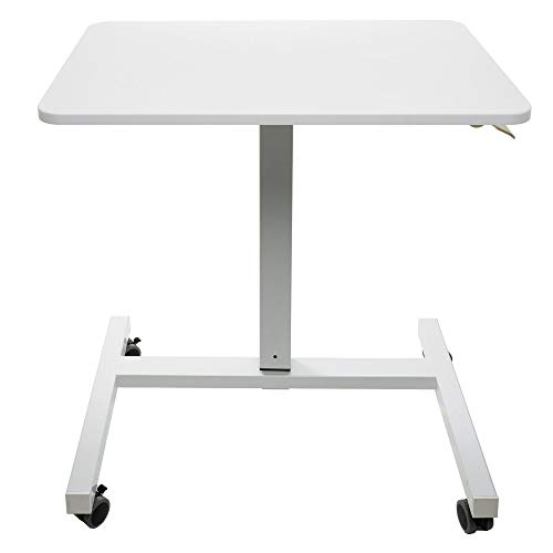 Laptop Cart on Wheels Adjustable Height, Pneumatic Sit to Stand Desk - Rolling Ergonomic Workstation with Locking Wheels for Home Office, Classroom Podium Lectern, Small Desk, 28 Inches White