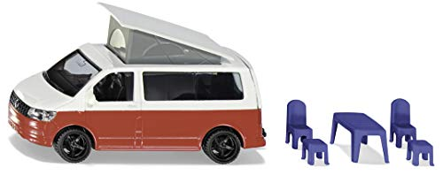 Siku 1922, VW T6 California Camping-Bulli, 1:50, Metall/Kunststoff, Rot/Weiß, Stühle, Hocker und Hochklappbares Dach