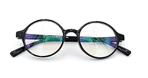AK CREATION 7 years -15 years old age's child can used this eye glass Blue Ray Cut Glass UV420 Zero Power Screen Protected Antiglare Unisex Spectacles Glasses (V-2, Medium (Shine black)