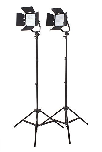 StudioPRO Premium Spot Daylight LED Rectangle with Barndoors Two Light Kit