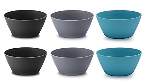 Cuencos de fibra Ecológicos PLA, 6 ensaladeras [15 x 7,5 cm] sin BPA . Aptos para lavavajillas Vajilla