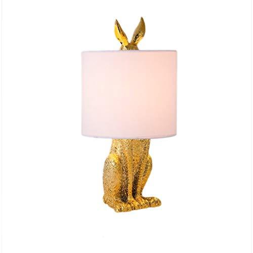 Tafellamp bureaulamp vierkante bedlamp, decoratieve slaapkamerverlichting van retro creatief gemaskerde konijnen, stoffen lampenkap nachtkastje lampje woonkamer bedlampje