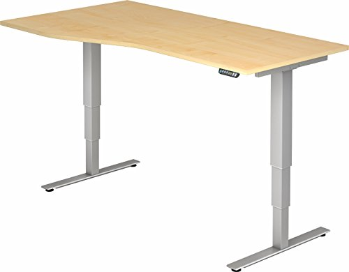 bümö® ergonomischer Schreibtisch elektrisch höhenverstellbar | elektrischer Bürotisch | höhenverstellbarer Büroschreibtisch mit Memoryfunktion in Freiform: 180x100 cm Ahorn