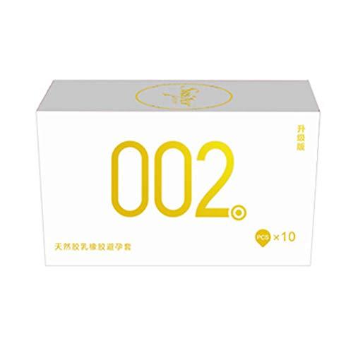 EXCEART 002 Condón Ultra Sensible Condón de Látex Condón Premium Ultra Delgado con Tachuelas para Hombres Parejas Hombre (Blanco) 10 Unidades