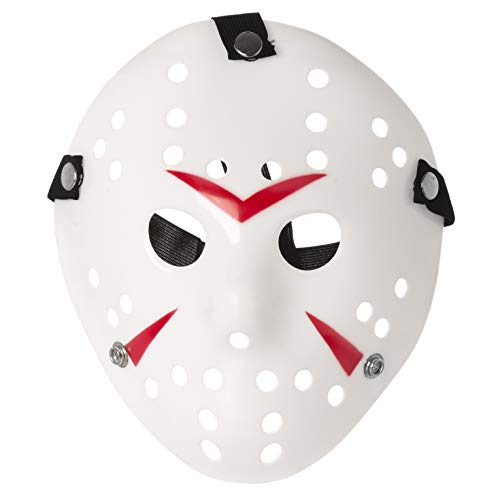 UltraByEasyPeasyStore Ultra Weiß und Rot Eishockey Masken Kostüm Halloween Horror Gruselig Schaurig Erwachsene Mann Frau Kinder Elastisches Band Qualität Gesichtsmaske Cosplay