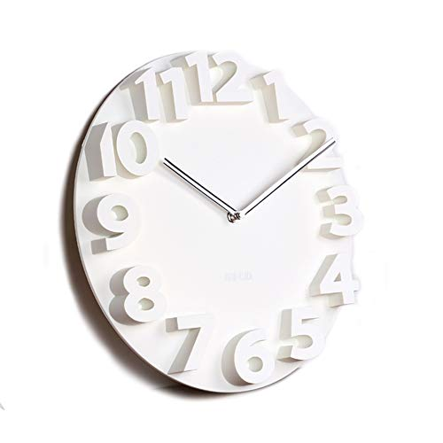 PFLife Wall Clocks for Living Room Decor for Kitchen Bedroom Dining Room Office Modern Silent Decorative 14 Inch Battery Operated 3D Black White Kitchen Bedroom Dining Room Office (White)