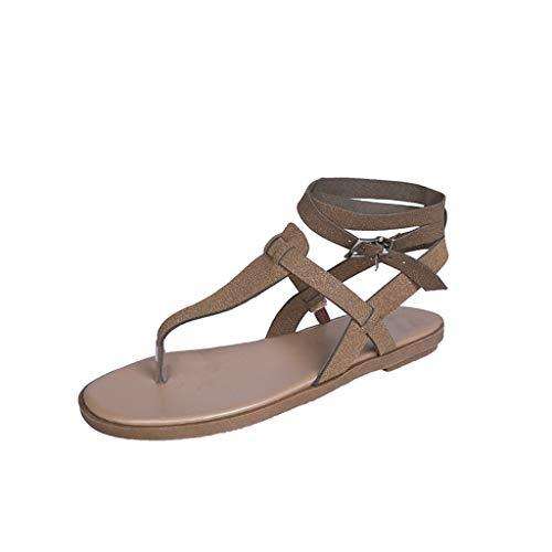 Lilicat-Damen Krawatte Geschnürt Gladiator Sandalen flach Riemchen Sommer Flach mit römischen Sandalen Clip Toe Flip Flop Sommerschuhe Strandschuhe