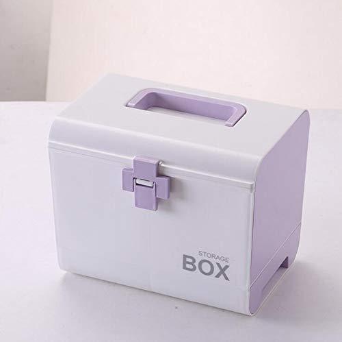 Boîte de médecine portative de ménage, boîte de stockage cosmétique, boîte de stockage en plastique multifonctionnelle Purple