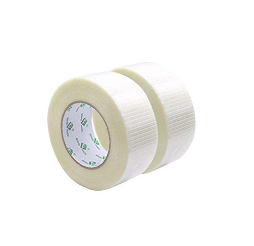 BOMEI Pack de cinta adhesiva de fibra de vidrio adhesivo de fibra de vidrio filamento Refuerzo y Alambre Cinta Adhesiva Resistente Fibra de Vidrio 2 Rollos 50 Mx 50 mm