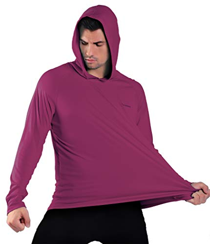 Men's UPF 50+ Sun Protection Hoodie Outdoor Long Sleeve T-Shirt for Running, Fishing, Hiking Purple