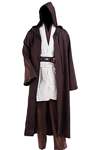 Halloween Tunic Costume Set Cosplay Outfit for Jedi Brown with White Hooded Robe (XX-Large, White)