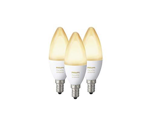 Philips Hue White Ambiance E14 LED Kerze 3-er Pack, dimmbar, alle Weißschattierungen, steuerbar via App, kompatibel mit Amazon Alexa