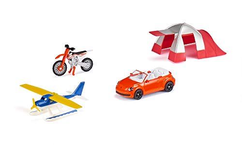 siku 6325, Freizeit-Set, Inkl. Cabrio, Cross-Motorrad, Wasserflugzeug und Zelt, Metall/Kunststoff, Multicolor