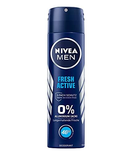 NIVEA MEN Deo Spray Fresh Active (150 ml), Deo ohne Aluminium (ACH) mit 48h Schutz, Deodorant mit hochwirksamer Formel und Meeresextrakten