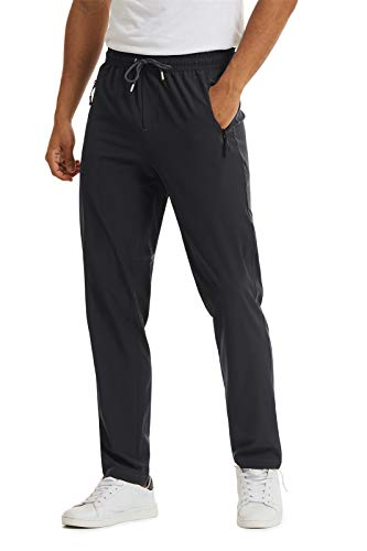 LASIUMIAT Spring Travel Elastic Waist Hiking Pants for Man with Zip, Black, 36
