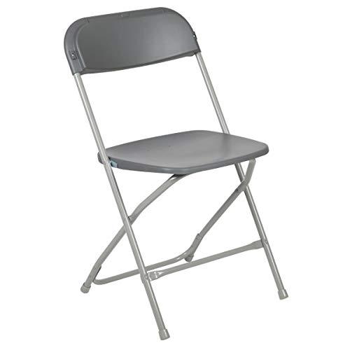 Flash Furniture Hercules Series 800-Pound Premium Plastic Folding Chair, Grey