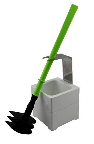 MISTERSANITÄR WC-Reinigungsgerät, Spezielle Toilettenbürste der 2. Generation und Wandhalter/Bodenständer Weiß, 3 TLG. Bürste - Silikonfrei, Geruchsneutral und Biegsam Farbe Limettengrün