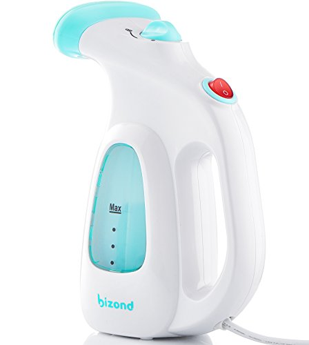 BIZOND Steamer for Clothes Travel and Home - Portable, Handheld Steamer for Garment and Fabric - Safe and Little Handy - Anti-Spill Compact Mini Steamer for Shirt, Curtain with Accessories (White)