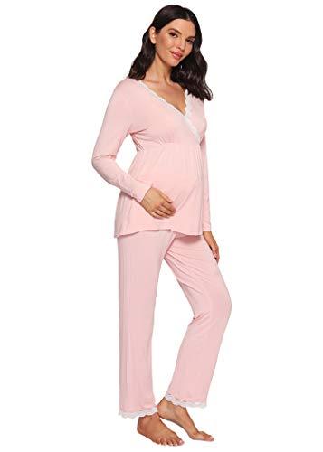 Latuza Women's Maternity Pajama Set Lace Breastfeeding Sleepwear L Pink Lace
