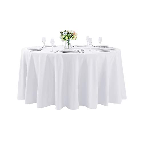 Cupuamon 108 inch Round Tablecloth Washable Polyester Table Cloth Decorative Table Cover for Wedding Party Dining Banquet 108 inchWhite