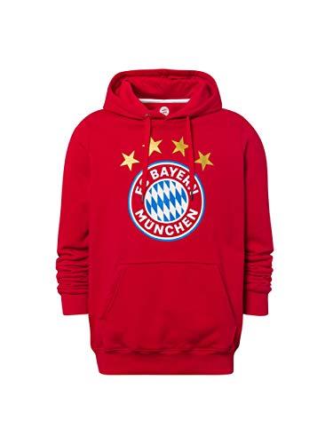 FC Bayern München Hoodie Logo rot, Kapuzenpullover mit Brusttasche, XXL