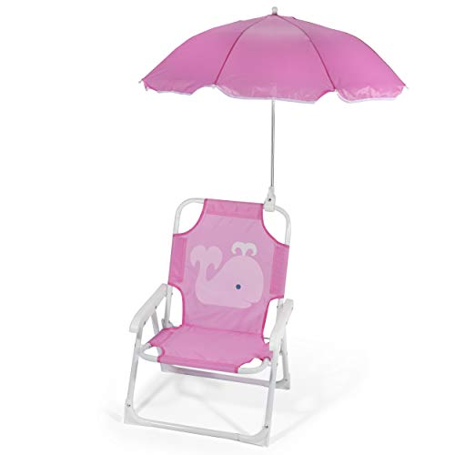 Heritage Kids Outdoor Beach Chair for Kids with Clip on Umbrella, Pink Whale