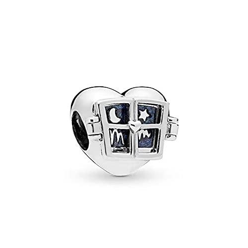 LIIHVYI Pandora Charms para Mujeres Cuentas Plata De Ley 925 Regalo De Moda De Joyería De Estrella De Luna De Corazón De Amor A Compatible con Pulseras Europeos Collars