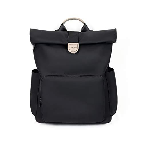 Rolltop Rucksack Amsterdam (matt schwarz) - 25 L Tagesrucksack mit Laptopfach für Damen & Herren Unisex