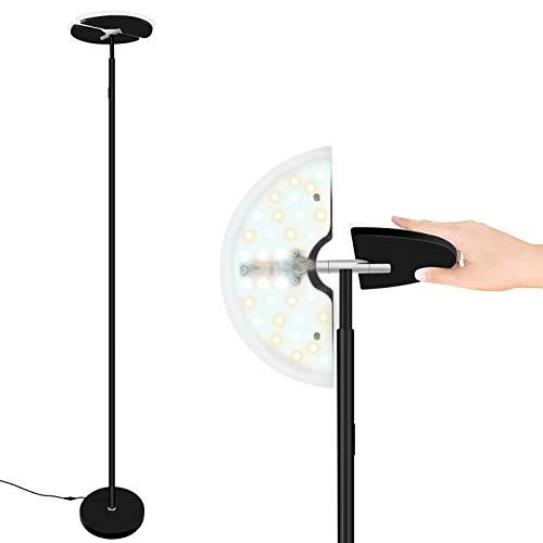 Svater LED lampara de pie, Lámpara Táctil de Hierro 30W con Control Remoto, Regulable sin Escalonamientos, Lámpara Moderna para Salón, Dormitorio y Oficina