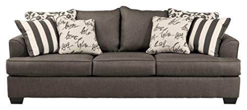Signature Design by Ashley - Levon Classic Sofa w/ 8 Pillows, Charcoal Gray