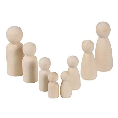 NUOBESTY 40 Stücke DIY Holzfiguren zum Bemalen und Basteln Tortenfigur Holz Figurenkegel Figuren Holzkegel Puppenfamilie für Hochzeit Geburtstag Dekoration