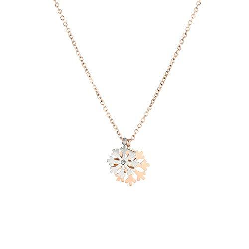 ZWP Collar Doble De Copo De Nieve De Oro Rosa De Acero De Titanio Simple Cadena De Clavícula De Temperamento De Cadena Corta De 18 K
