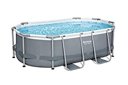 """POWER STEEL: above ground frame pool; the ideal space saving garden pool; size 10' x 6'7"""" x 33"""" (3.05m x 2.00m x 84cm) water capacity 3,668 L (969 gal) EASY SET UP: with no tools required; filter cartridge extends lifespan and quality filtering as we..."""
