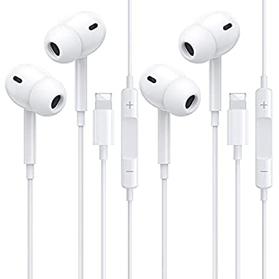 2 PACK Headphones for iPhone,In Ear wired Earphones with Microphone and Volume Control HiFi-Audio Stereo Noise Isolating Sport Earbud Compatible with iPhone 12/SE/11/XS/X/XR/8/8P/7/7P Support All iOS from Beamingnet