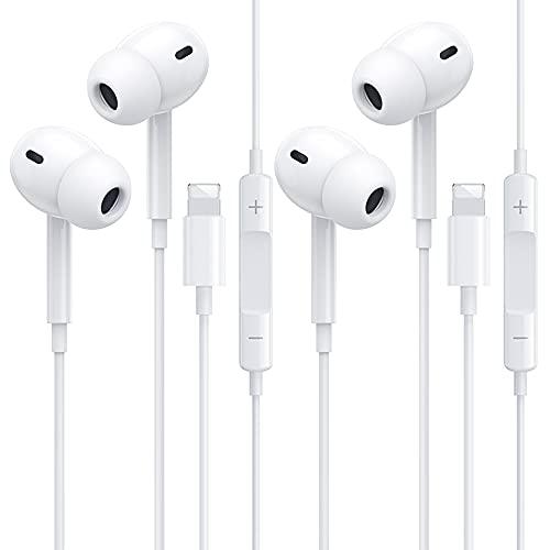2 Pack Auriculares In Ear para iPhone,Auriculares Deportivos con Cable con Micrófono y Control de Volumen, Graves Potentes y auriculares ergonómicos antirruido Compatible con iPhone 12/SE/11/X