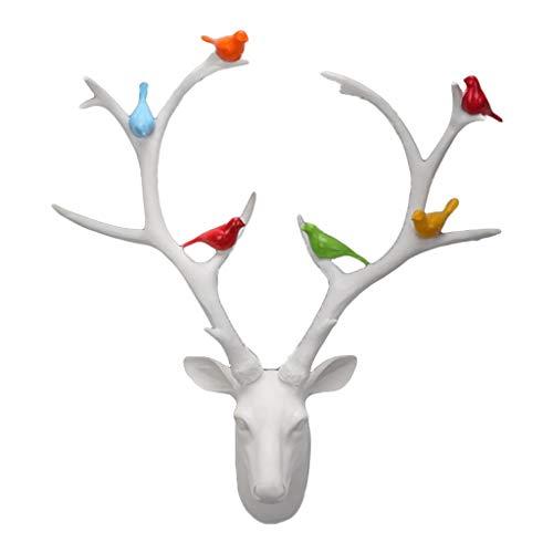 LIUBINGER Escultura Deer Head Colgante de Pared Sala de Estar Comedor Escultura 3D Blanco Negro 17 * 53 * 59cm Manualidades (Color : White)